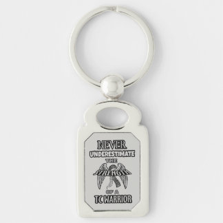 NEVER...TC Warrior Silver-Colored Rectangle Key Ring