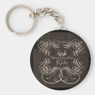 Never too old to ride basic round button key ring