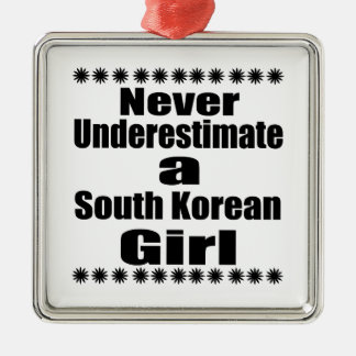 Never Underestimate A South Korean Girlfriend Silver-Colored Square Decoration