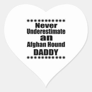 Never Underestimate Afghan Hound Daddy Heart Sticker