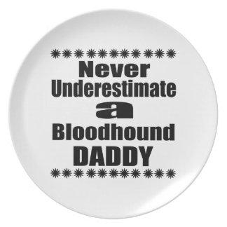 Never Underestimate Bloodhound Daddy Dinner Plates