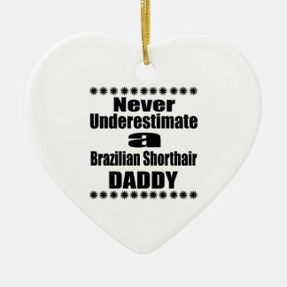 Never Underestimate Brazilian Shorthair Daddy Ceramic Ornament