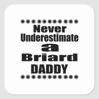 Never Underestimate Briard  Daddy Square Sticker