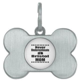 Never Underestimate Bristol  Mom Pet Name Tag