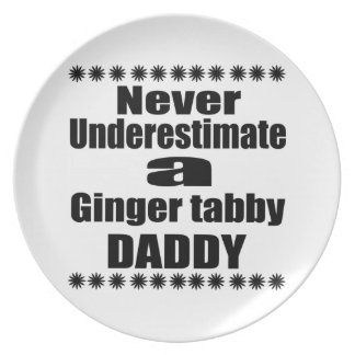 Never Underestimate Ginger tabby Daddy Plate