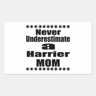 Never Underestimate Harrier Mom Rectangular Sticker