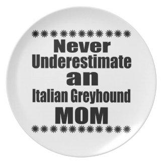 Never Underestimate Italian Greyhound Mom Plate