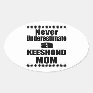 Never Underestimate KEESHOND Mom Oval Sticker