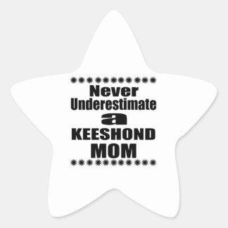 Never Underestimate KEESHOND Mom Star Sticker