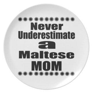 Never Underestimate Maltese Mom Plate