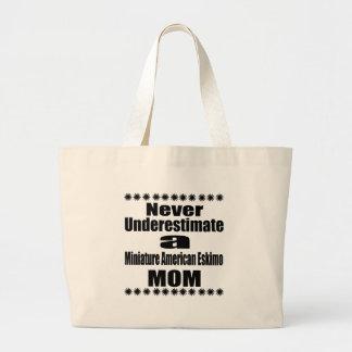 Never Underestimate Miniature American Eskimo  Mom Large Tote Bag