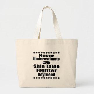 Never Underestimate  Shin Taido Fighter Boyfriend Large Tote Bag