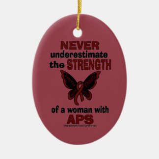 Never Underestimate...Woman/Butterfly...APS Ceramic Ornament