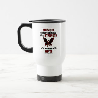 Never Underestimate...Woman/Butterfly...APS Travel Mug