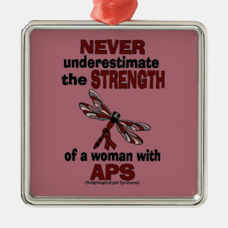 Never Underestimate...Woman/Dragonfly...APS Metal Ornament
