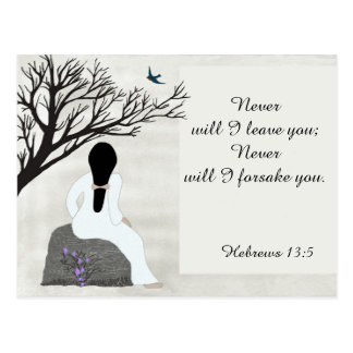 """""""Never will I leave you"""",  Bible Verse Postcard"""