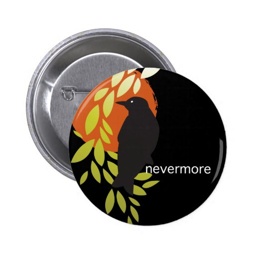 Nevermore - Raven & Moon by Poe Pinback Buttons