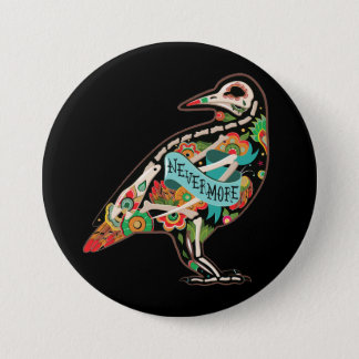 Nevermore Sugar Skull Raven 7.5 Cm Round Badge