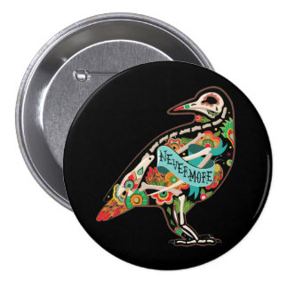 Nevermore Sugar Skull Raven 7.5 Cm Round Badge