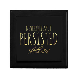 Nevertheless, I Persisted BLACK and GOLD Small Square Gift Box