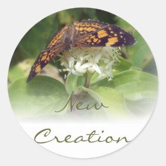new1butterfly, New Creation Round Sticker