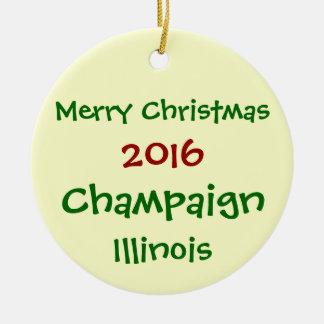 NEW 2016 CHAMPAIGN ILLINOIS CHRISTMAS ORNAMENT