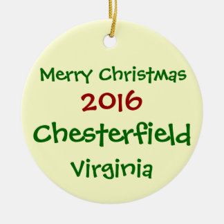 NEW 2016 CHESTERFIELD VIRGINIA CHRISTMAS ORNAMENT