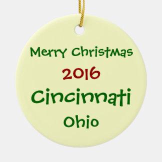 NEW 2016 CINCINNATI OHIO MERRY CHRISTMAS ORNAMENT