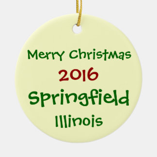 NEW 2016 SPRINGFIELD ILLINOIS CHRISTMAS ORNAMENT