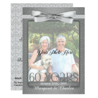 NEW 60th Diamond Wedding Anniversary Photo Party Card