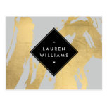 NEW Abstract Faux Gold Foil Brushstrokes on Grey Postcard