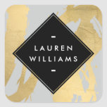 NEW Abstract Faux Gold Foil Brushstrokes on Grey Square Sticker