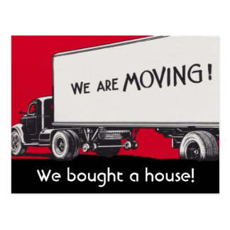 New Address Announcement on Retro Moving Truck Postcard