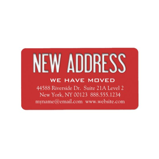 """New Address"" Change Notification Label"