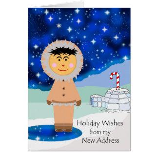 New Address, Christmas Greetings, Eskimo Card