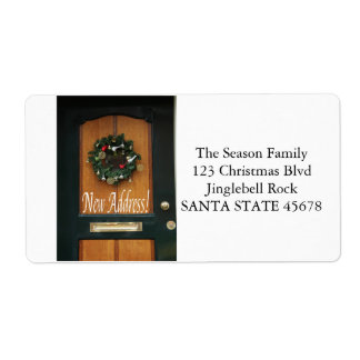 New Address Christmas wreath on door Shipping Label