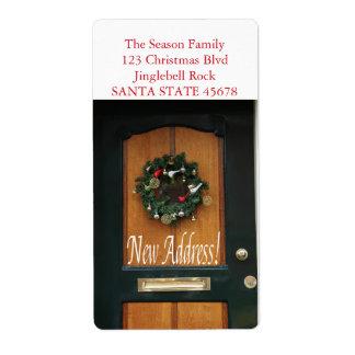 New Address Christmas wreath on door Shipping Label