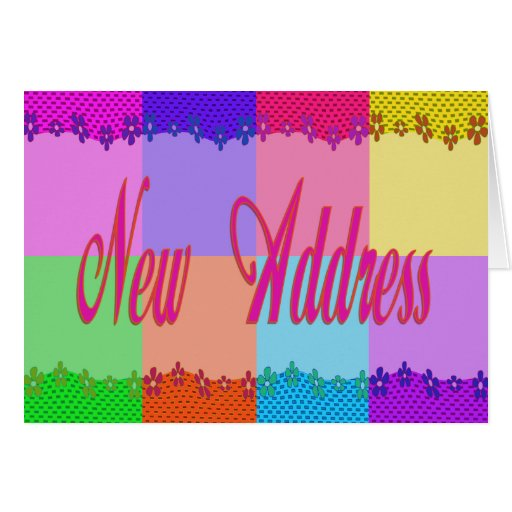 New Address colorful flowers Card