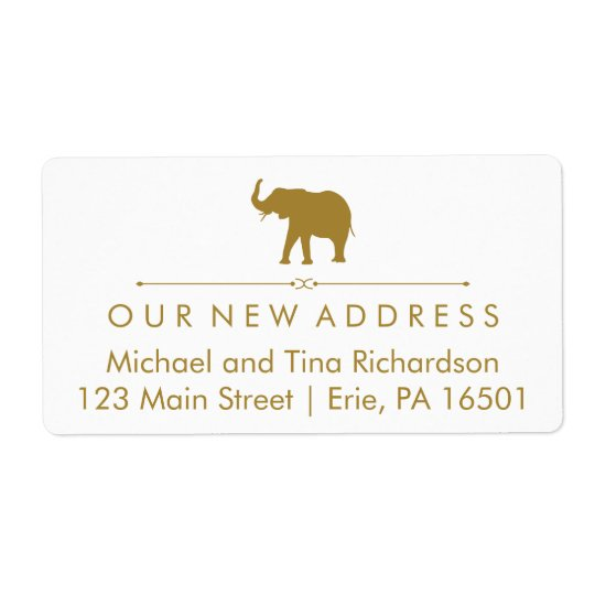 New Address Glam White and Gold Elephant Shipping Label