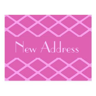 New Address pink pattern Postcard