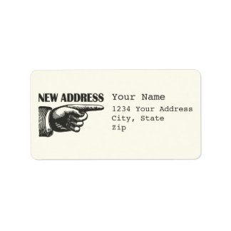 New Address Pointing Hand Address Label