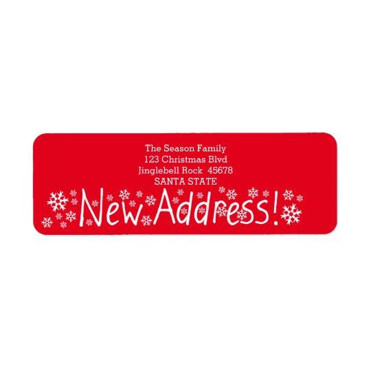 New Address Snowflake Christmas Return Address Label