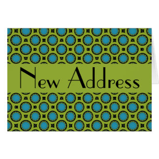 New Address Turquoise Green Circles Card