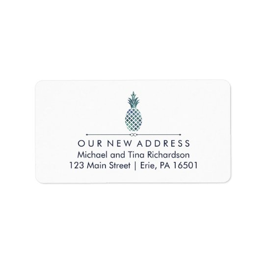 New Address with Blue Watercolor Look Pineapple Label