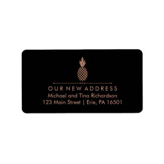 New Address with Faux Rose Gold Look Pineapple Address Label