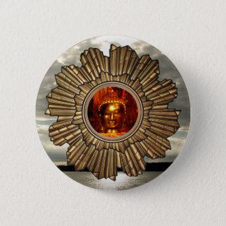 New Age Buddha Sun Brooch 6 Cm Round Badge