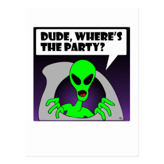 new alien party post cards