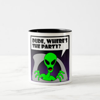 new alien party Two-Tone coffee mug