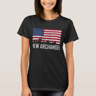 New Archangel Alaska Skyline American Flag Distres T-Shirt