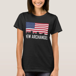 New Archangel Alaska Skyline American Flag T-Shirt